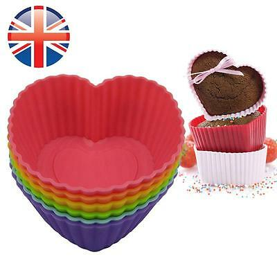*UK Seller* Silicone Heart-Shaped Cup Cake Muffin Cupcake Cases Baking Cup