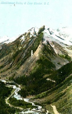 Old post card postcard illecillewaet Valley Loop Glacier B.C mountain CANADA