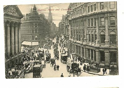 Old post card postcard UK Mansion House and Cheapside busy street horses