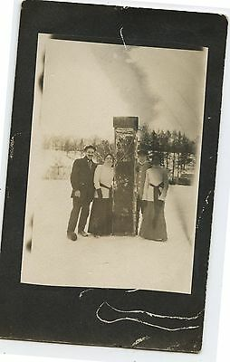 Antique Real Photo Postcard People with Toboggan in Winter