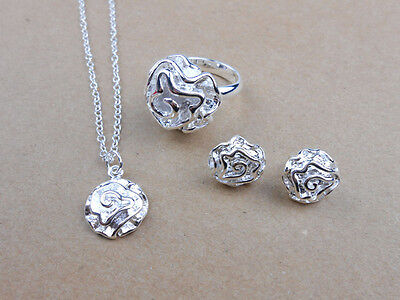 925 Sterling Silver Plated Solid Rose Necklace Chain Ring Earrings Sets