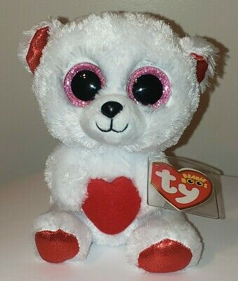 """Ty Beanie Boos ~ CUDDLY BEAR w/ Heart 6"""" NEW with MINT TAGS ~ RETIRED"""