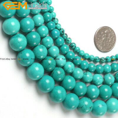 """Blue Tourquoise Stone Loose Beads For Jewelry Making 15"""" Wholesale Jewelry Beads"""