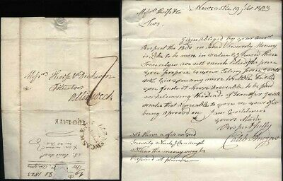1828  NEWCASTLE TOO LATE Postmarked letter  Caleb Angus to Thorp of Alnwick