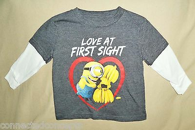 Valentine's Day Minions Love at First Sight Infant/Toddler Boys T-Shirt (12m-5T)