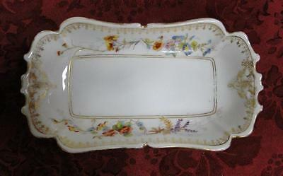 """LS&S (Lewis Straus), Limoges, Floral Scalloped Rectangular Dish  6 3/4"""" AS IS"""