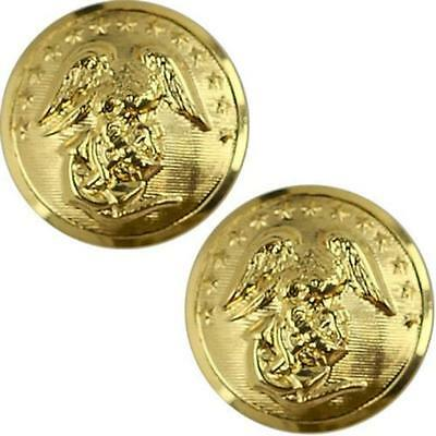 USMC Marine Corps Buttons  27L Anodized - CARD OF 2    NEW  (Made in USA)