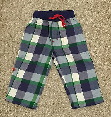 NWT Baby Boy Trouser Shorts Navy Green Check Cotton 12, 24month Waist Band Comfy