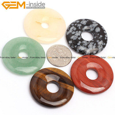 30mm Round Donut Ring DIY Gemstone Pendant Beads 1Pc , 12 Materials Selectable