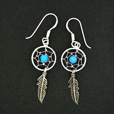 Crystal Dreamcatcher Drop Earrings 925 Silver Turquoise~Reiki~Pagan Jewellery