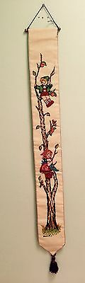 Set of 2 Large 1940's Hand Made Cloth Hanging  Scrolls! Awesome!