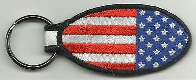 USA AMERICA stars stripes - oval shape EMBROIDERED KEYCHAIN official merchandise
