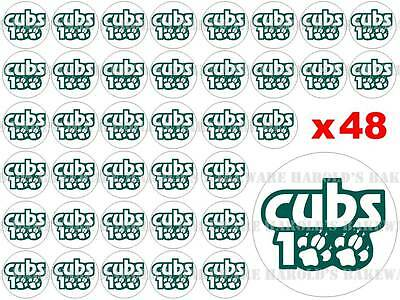 48 x 3cm Cub Scouts 100 Anniversary Logo Edible Fairy Cup Cake Toppers 100th