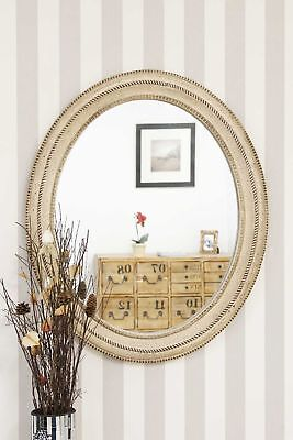 """Large Cream Antique Style Oval Wall Mounted Mirror 36""""x 30.5''"""