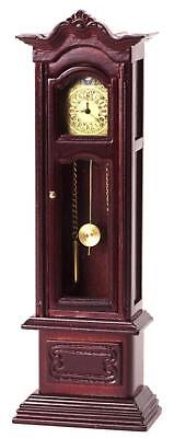 Dolls House Miniature 1:12 Scale Furniture Working Mahogany Grandfather Clock
