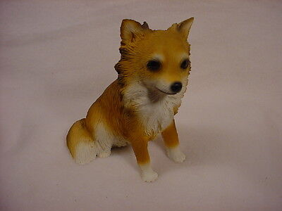 LONG HAIR CHIHUAHUA FIGURINE dog HAND PAINTED Resin Statue Brown Puppy longhair