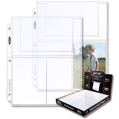 (10) Pages BCW Pro 3-Pocket Photo Protector 4 x 6 Inch Pockets