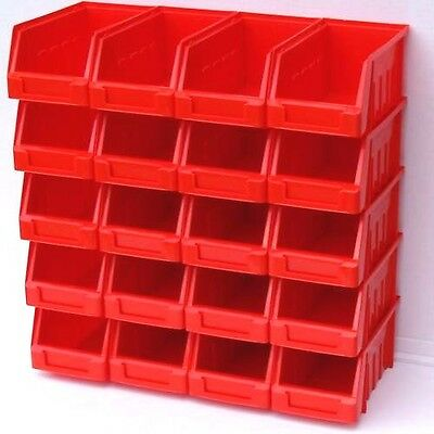 20 Red Size 2 Stacking Plastic Parts  Storage Bins  Garage Home Dusty Stock