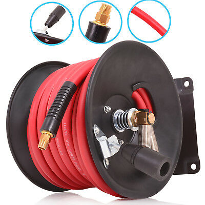 "50ft 15m 300psi 20 BAR 3/8in 1/4"" NPT WORKSHOP GARAGE AIR HOSE LINE REEL SPOOL"