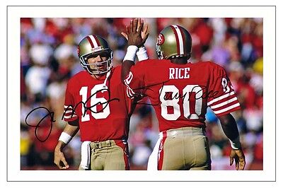 Joe Montana Jerry Rice San Francisco 49Ers Signed Photo Autograph Print Football