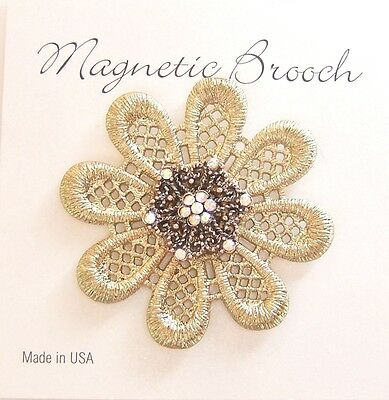 Magnetic Brooch Clip Clasp Pin Gold Crochet Metal Flower Pearl  Scarves Shawl