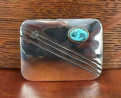 Vintage Turquoise Stone with Line Design Sterling Silver 925 Belt BUCKLE