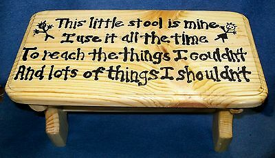 **NEW** Children's Handmade Wooden Wood Foot Step Stool with Custom Saying