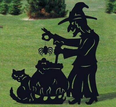 """**NEW** Halloween Lawn Art Yard Shadow/Silhouette - """"Brewing Witch"""" 48"""" Tall!"""