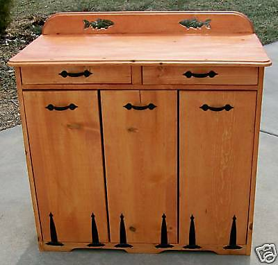 **NEW** Handmade Custom Triple Drawer Wood Trash Bin  - Pick stain, varnish, etc