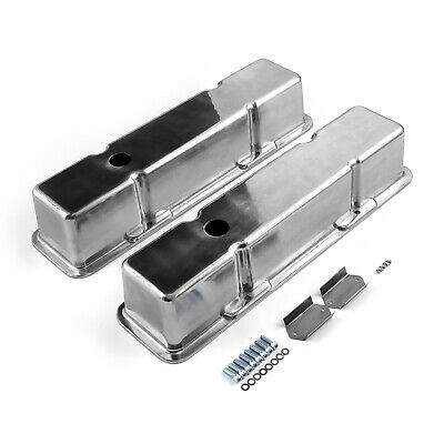 Chevy SBC 350 Polished Aluminum Plain Valve Covers - Tall w/ Hole