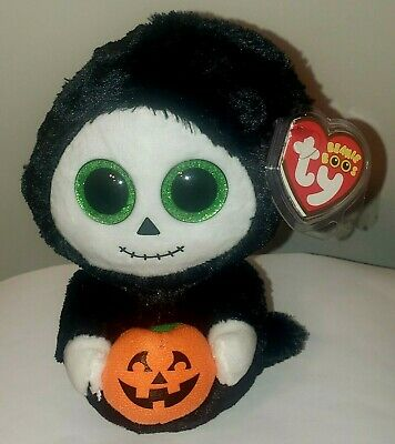 "Ty Beanie Boos ~ TREATS the 6"" Halloween Ghost w/ Pumpkin ~ 2015 NEW ~ IN HAND"