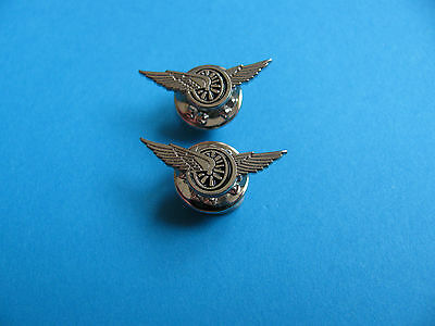 2, Small Wings & Wheels pin badges, Motorcycle interest. Unused. Metal.
