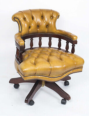 English Hand Made Leather Captains Desk Chair • £1,195.00