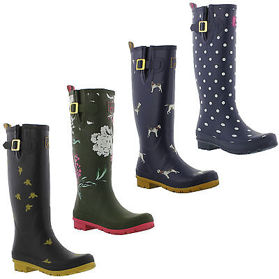 Joules Welly Print Womens Tall Wellington Boots Wellies Size 4-8