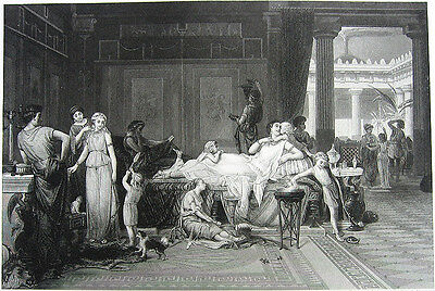 Ancient Rome Pompeii Restored HOUSE OF TRAGIC POET, Old 1882 Art Print Engraving