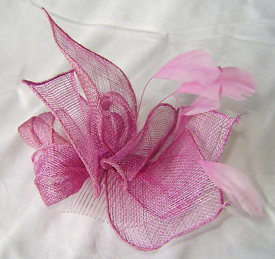 New Lilac Hessian Feather Fascinator Hair Accessory On Comb Hfc