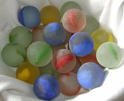 NEW 25 FROSTED RAINBOW 22mm GLASS MARBLES TRADITIONAL GAME COLLECTORS ITEMS HOM