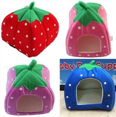 Strawberry Pets Dog Cat Bed House Kennel Doggy Winter Warmer Cushion Basket H