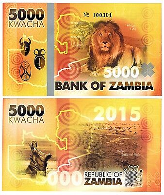 2015 Zambia 5000 Kwacha Lion Private Fancy One Note Uncirculated