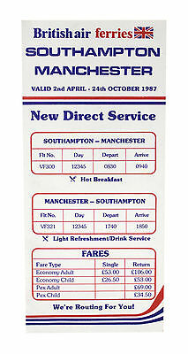 Britisch- Luft Ferries Airlines Flugplan April 2, 1987
