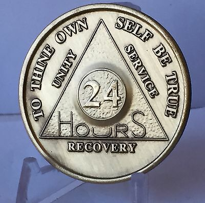 24 Hours AA Medallion Bronze Alcoholics Anonymous Sobriety Chip Coin