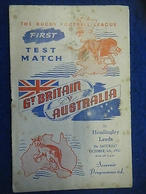 GREAT BRITAIN v AUSTRALIA, AT LEEDS IN 1952 - SCARCE PROGRAMME!