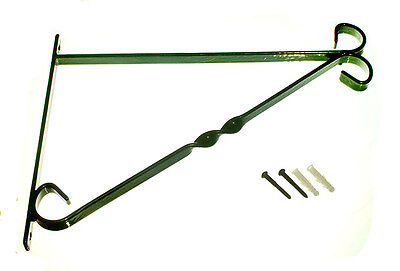 "Brackets For 12"" Hanging Basket Green Plastic Coated Steel + Fixings - 12 In Pk"