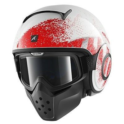Shark Raw Urban Mod Motorcycle Street Open Face Helmet Outcast White Red Wrs