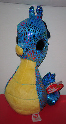 """Ty Beanie Boo's Boos ~ NEPTUNE the 6"""" Blue Seahorse ~ MINT with MINT TAGS ~ NEW"""