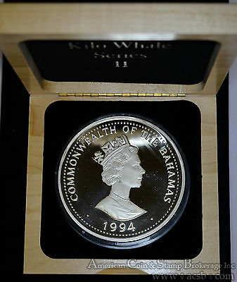 Bahamas 100 Dollars 1994 Proof silver Kilo Killer Whale Original Box & COA.