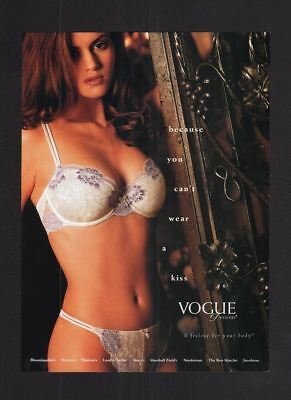 2000s Magazine 8.5x11 Print Ad~Vogue Lingerie~Brunette~Sexy Bra & Thong~A240
