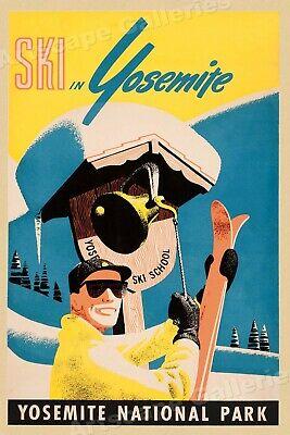 Ski in Yosemite National Park 1930s Classic Vintage Style Skiing Poster - 24x36