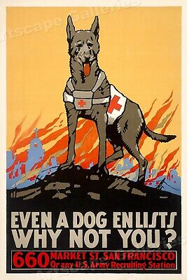 1915 Even A Dog Enlists Vintage Style WW1 Poster - 16x24