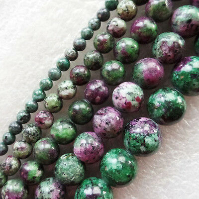 4/6/8/10/12mm Gorgeous Ruby in Fuchsite Round Ball Loose Bead 15.5 inch XLZ-485